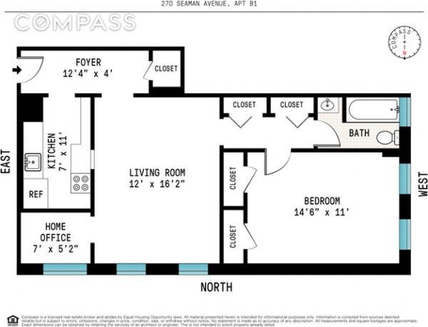 270 Seaman Avenue, Unit B1 - 1 Bed Apt for Sale for $350,000